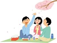 花見を楽しむ若い男女