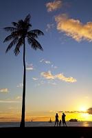 ハワイ オアフ島 アラ・モアナ海岸公園 夕景