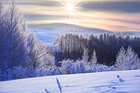 北海道 霧氷と日の出