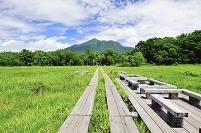 群馬県 尾瀬 竜宮十字路の木道から望む竜宮小屋と至仏山