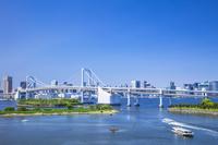 東京都 お台場海浜公園と東京タワー 青空