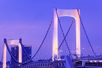 東京都 お台場より レインボーブリッジ 夕景