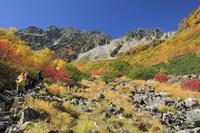 長野県 紅葉の涸沢の登山者と穂高連峰