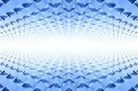 並ぶ立体の三角形と光 3DCG