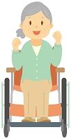 車椅子に座ってガッツポーズする老人女性