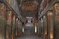 インド アジャンター石窟群 第9窟 内部 ストゥーパ