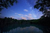 北海道 青い池と天の川