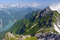 長野県 針ノ木岳より黒部湖を囲む山々
