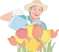 花の手入れをするアクティブシニアの女性