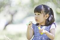 シャボン玉遊びの日本人の女の子