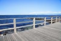 神奈川県 海岸のウッドデッキ