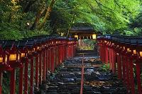 日本 京都府 貴船神社 夕刻の参道と灯籠の灯り