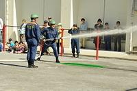防災訓練 消防団の放水訓練