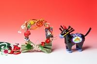 仙台張り黒馬と正月飾り