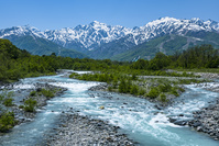 長野県 松川と五竜岳