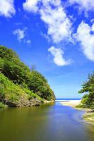 東京都 小笠原諸島 父島 中山峠への道から望む八ッ瀬川と小港海岸