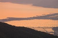 新潟県 佐渡島 大佐渡スカイラインから望む加茂湖 カキの養殖筏