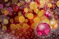 クリスマスオーナメントと雪の結晶 イラスト