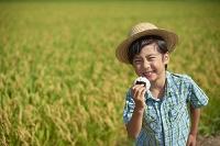 田んぼでおにぎりを食べる日本人の男の子