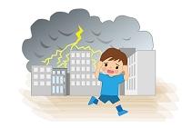 雷から非難する少年