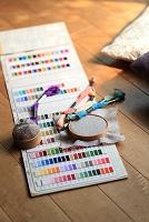 刺繍糸と色見本パレット