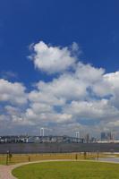 豊洲ぐるり公園と東京湾とレインボーブリッジ