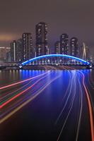 東京都 隅田川の屋形船の光跡と永代橋の夜景