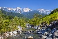 長野県 松川と白馬連山