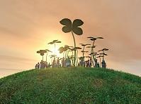 クローバーの丘に人々が集まる