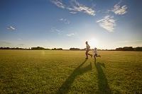 草原を走る親子