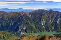 富山県 立山・大汝山より黒部湖と後立山連峰