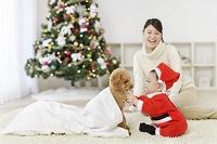 リビングで寛ぐママと犬とクリスマスの格好をした赤ちゃん