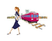 女性と電車