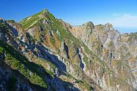 長野県 八方尾根から唐松岳(左)と不帰ノ嶮(右)
