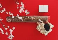 お琴を弾く着物の女性