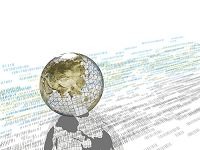 数字データと地球儀