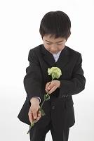 一輪の花を手向ける喪服姿の少年