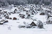雪の白川郷、荻町合掌造り集落