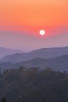岡山県 備中松山城の夕日