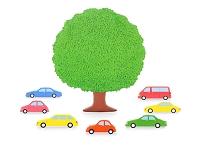 7台の車と大樹