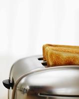 トースターの中の2枚のトースト