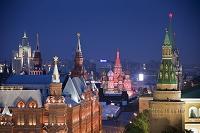 ロシア 聖ワシリイ大聖堂の夜景