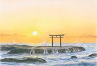 大洗海岸の大洗磯前神社鳥居(茨城県)