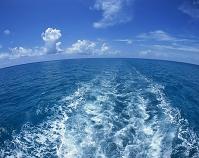 モーターボートの航跡