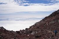 静岡県 富士山 御殿場ルート 山頂 登山者