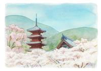 寺と満開の花