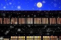 京都府 雪降る西陣の町家(合成)