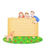 看板と家族とペット