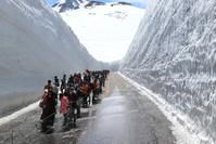 富山県 室堂の雪の大谷と観光客