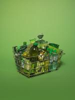 スーパーの買い物かご 緑色